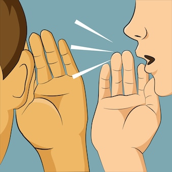 Kobieta szepcząca do kogoś ucha, mówiąc jej coś tajnego.