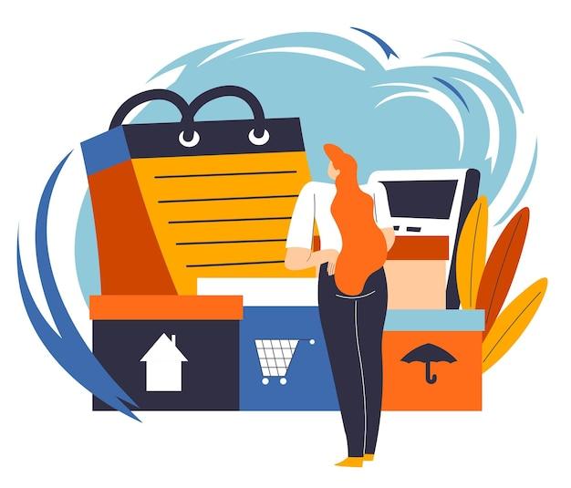 Kobieta szuka i produkty kupione podczas zakupów na oszczędności. planowanie rodzinnego budżetu i mądre zarządzanie aktywami finansowymi. kobieca postać z kalendarzem i pudełkami. wektor w stylu płaskiej