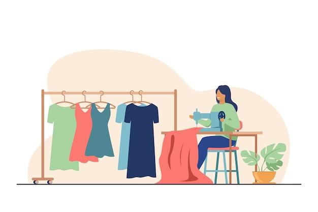 Kobieta szyje nową sukienkę na maszynie do szycia. krawcowa, tkaniny, odzież płaska ilustracja wektorowa. koncepcja mody i rękodzieła