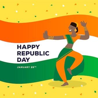 Kobieta tańczy dzień republiki indii