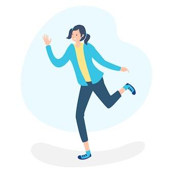 Kobieta tańczy po słuchaniu muzyki ska