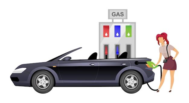 Kobieta tankowania samochodu płaski kolor bez twarzy. uśmiechnięta pani na samoobsługowej stacji benzynowej ilustracja kreskówka na białym tle do projektowania grafiki internetowej i animacji. kobieta kierowca na stacji benzynowej