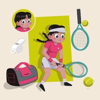 Kobieta tenisistka urocza postać 2d gotowa do animacji wraz ze sprzętem sportowym