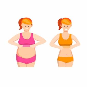 Kobieta tłuszczu i szczupła ikona symbol ciała zestaw koncepcja ilustracja kreskówka na białym tle