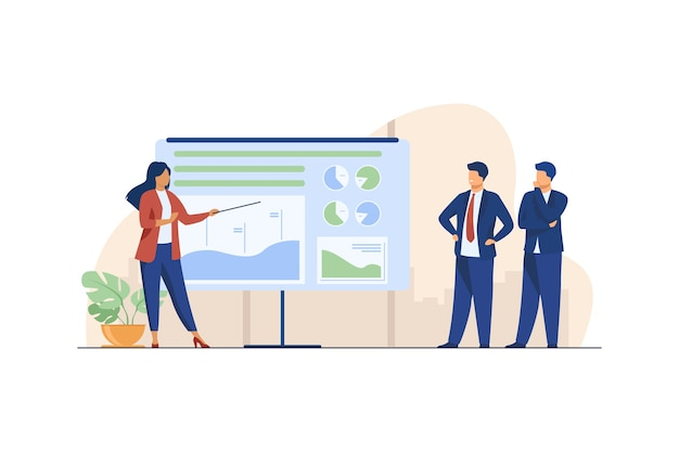 Kobieta trenerka wyjaśniająca statystyki biznesmenom. wykres, firma, analiza ilustracji wektorowych płaski. biznes i marketing