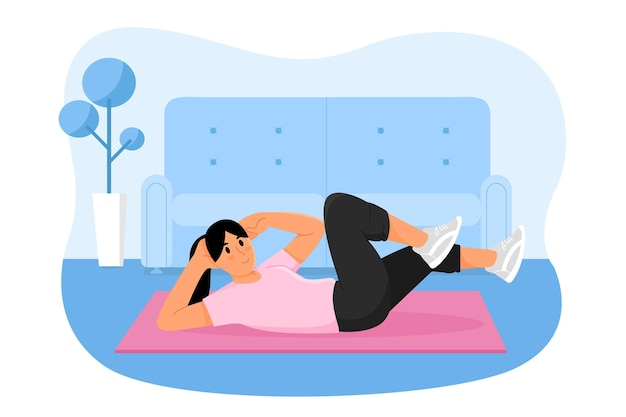 Kobieta treningu w domu ilustracja wektorowa