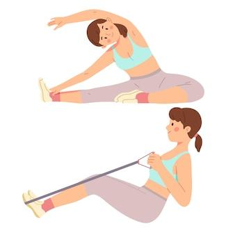 Kobieta treningu w domu siłownia kwarantanna cardio ruch rutynowy sport