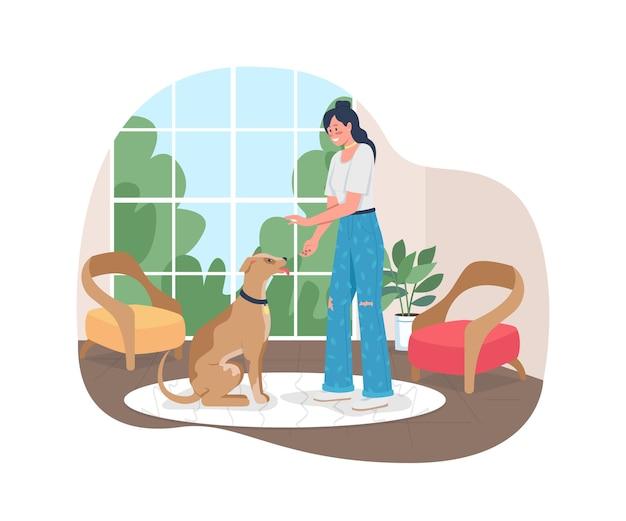 Kobieta tresura psa do siedzenia w sieci web baner 2d plakat