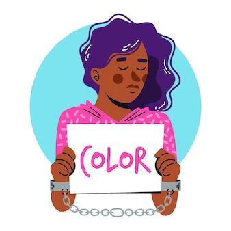 Kobieta trzyma afisz rasistowski