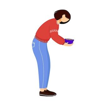 Kobieta trzyma danie płaskie ilustracja. bezinteresowny wolontariusz, pracownik społeczny na białym tle postać z kreskówki na białym tle. wolontariusz serwujący darmowy posiłek. element projektu darowizny żywności