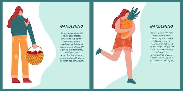 Kobieta trzyma dużą marchewkę druga kobieta trzyma kosz z jabłkami. ogrodnictwo ilustracja kreskówka zestaw
