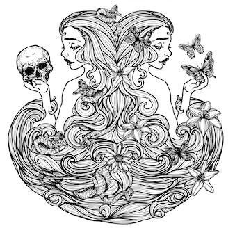 Kobieta trzyma motyli czaszka rysunek i nakreślenie czarny i biały
