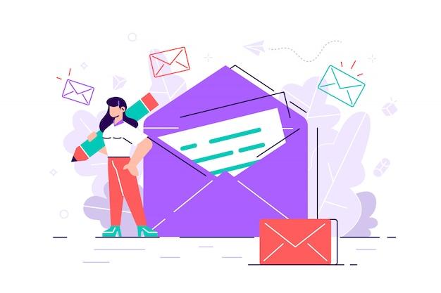 Kobieta trzyma pocztę. na czacie biznesowa ilustracja. proces pracy