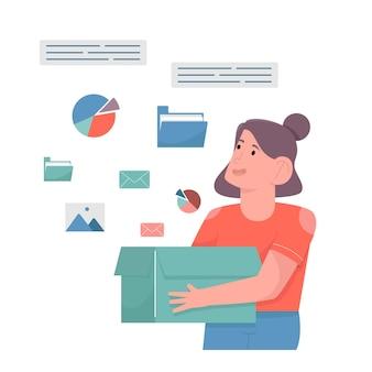 Kobieta trzyma pudełko i niektóre dane wychodzą z pudełka
