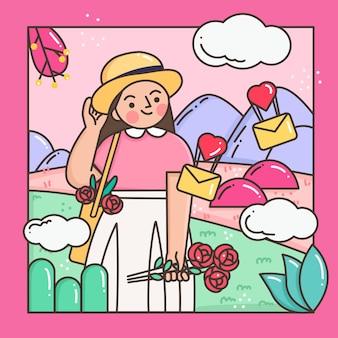 Kobieta trzyma różę na walentynki