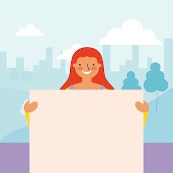 Kobieta trzyma sztandary