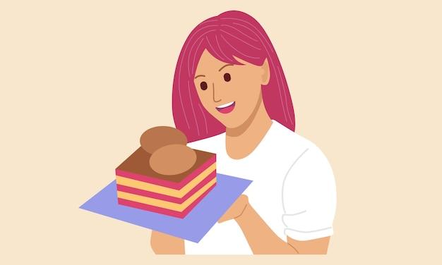 Kobieta trzyma tort urodzinowy