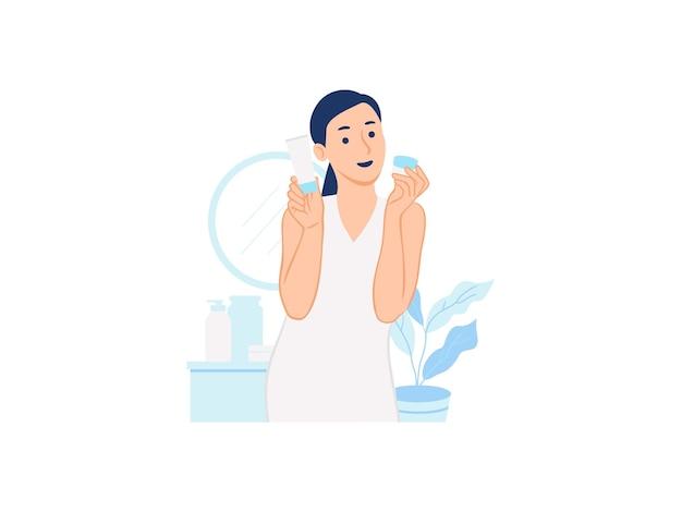 Kobieta trzyma tubkę krem i słoik kosmetyczny do pielęgnacji skóry produkt do pielęgnacji urody w domu ilustracja koncepcja