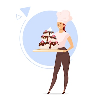 Kobieta trzyma wielopoziomowe ciasto płaski kolor ilustracja. kobieta piekarz w kapeluszu szefa kuchni. dziewczyna z wyrobem cukierniczym. koncepcja słodyczy. postać z kreskówki na białym tle na białym tle
