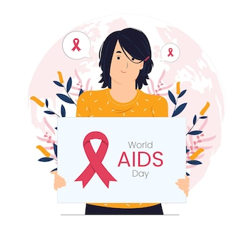 Kobieta trzyma znak na świecie ilustracji koncepcyjnej dzień pomocy