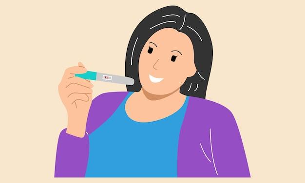 Kobieta trzymająca pakiet testu ciążowego z 2 czerwonymi paskami daje wynik pozytywny