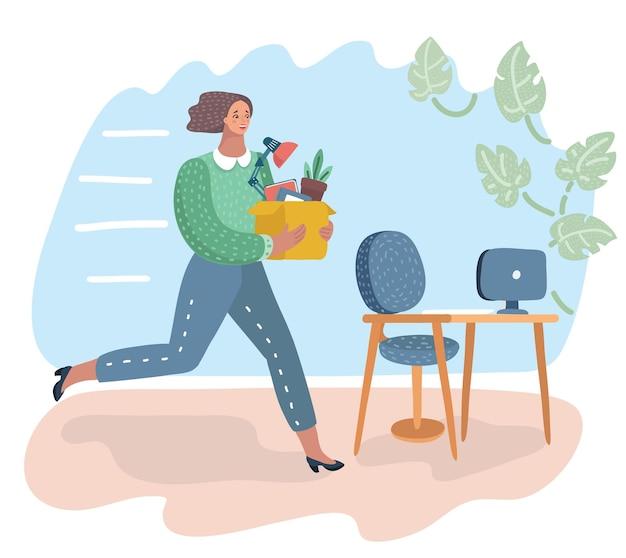 Kobieta trzymająca pudełko ręką oferująca nową pracę