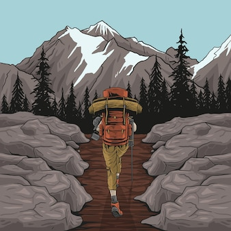 Kobieta turysta piesze wycieczki patrząc na malowniczy widok na krajobraz górski liści jesienią
