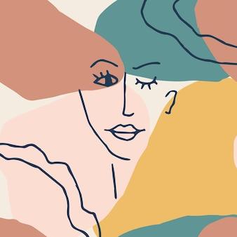 Kobieta twarz minimalna linia styl abstrakcyjny współczesny kolaż geometrycznych kształtów w nowoczesnym stylu