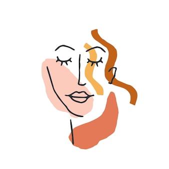 Kobieta twarz minimalna linia stylu. abstrakcyjny współczesny kolaż