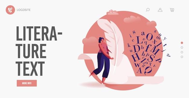 Kobieta twórz książki, poezję lub narrację szablon landing page. literatura lub pisanie hobby, zawód. mała postać kobiecego autora z ogromnym piórem pióra pisania na papierze. ilustracja kreskówka wektor