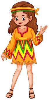 Kobieta ubrana postać w ubrania hippie na białym tle