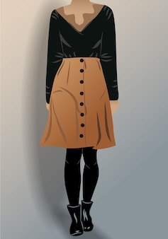 Kobieta ubrana w czarną bluzkę rajstopy i brązową spódnicę