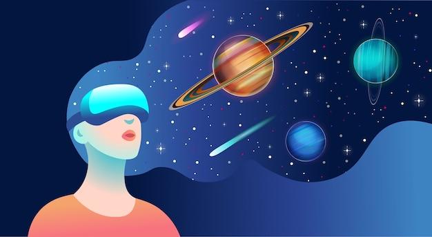 Kobieta ubrana w gogle wirtualnej rzeczywistości i widząca kosmiczny krajobraz.