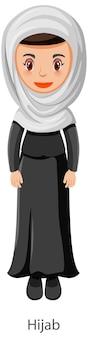 Kobieta ubrana w hidżab islamska tradycyjna postać z kreskówki welon