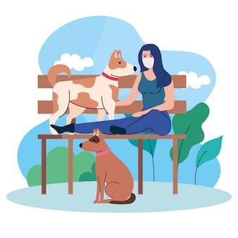 Kobieta ubrana w maskę medyczną, siedząca na krześle w parku z psami