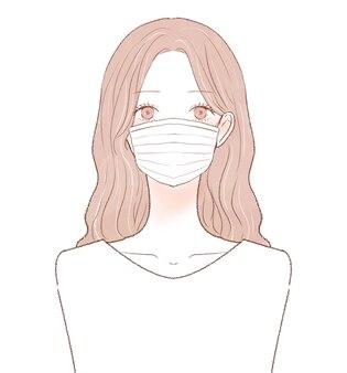 Kobieta ubrana w maskę z włókniny. na białym tle.
