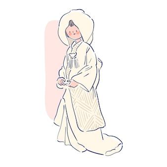 Kobieta ubrana w piękny japoński shiromuk