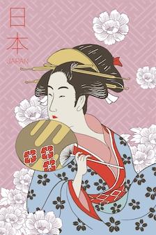 Kobieta ubrana w tradycyjne japońskie stroje. kostium gejszy. kwiecisty wzór. wyciągnąć rękę