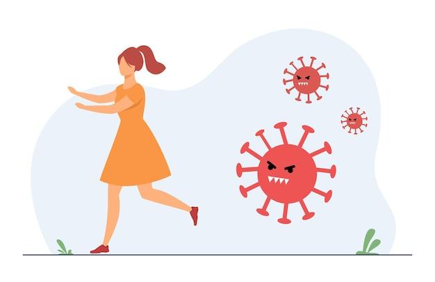 Kobieta uciekająca przed agresywnym covidem. ilustracja kreskówka