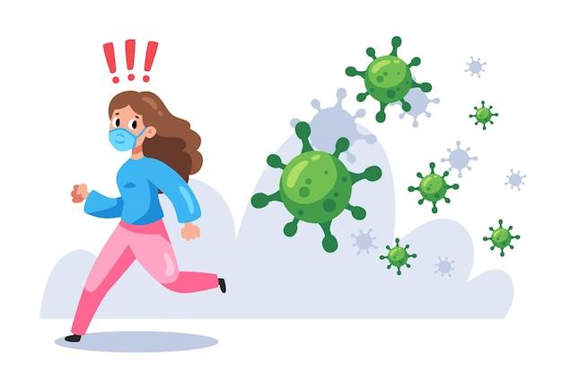 Kobieta uciekająca przed cząsteczkami koronawirusa