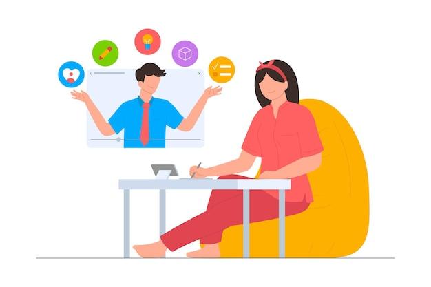 Kobieta uczy się myślenia projektowego za pośrednictwem sceny ilustracji online