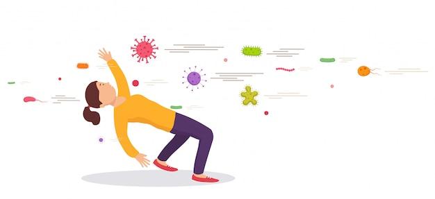 Kobieta unikając bakterii. koncepcja zapobiegania wirusom. ochrona układu odpornościowego przed złymi bakteriami. bariera przeciwko wirusom.