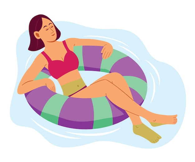 Kobieta unosząca się na dmuchanym kółku do pływania w basenie