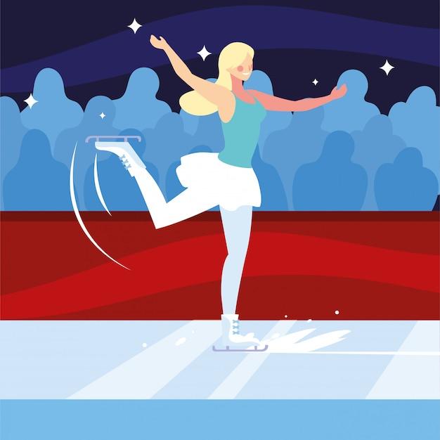 Kobieta uprawiania łyżwiarstwa figurowego, sport na lodzie
