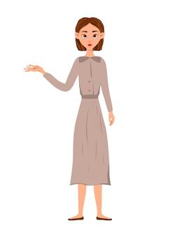 Kobieta uroda pokazuje rękę na bok. styl kreskówkowy.