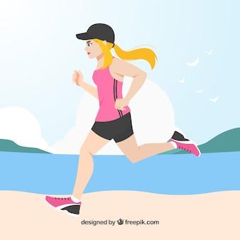 Kobieta uruchomiony nexto na tle plaży