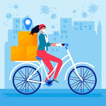 Kobieta usługi dostawy na rowerze