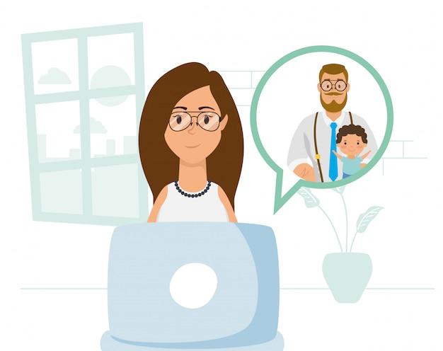 Kobieta używa laptop komunikować i zostać w domu