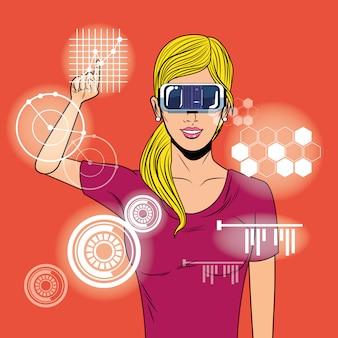 Kobieta używa szkieł rzeczywistości wirtualnej