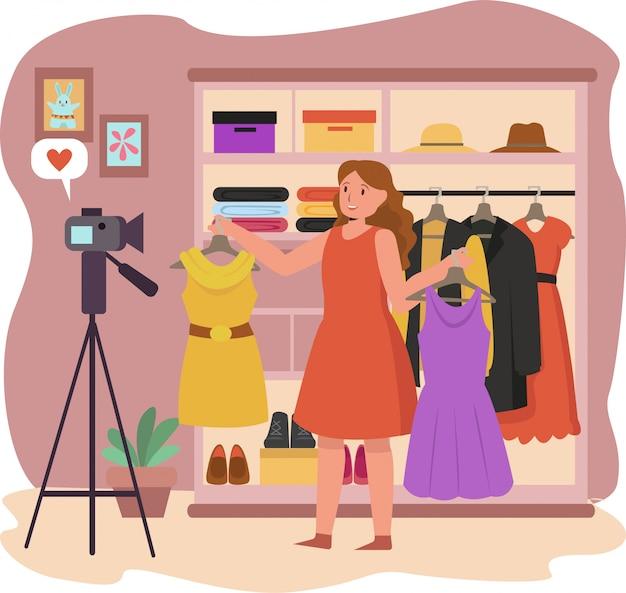 Kobieta vlogger robi vlog na temat mody dziewczęcej